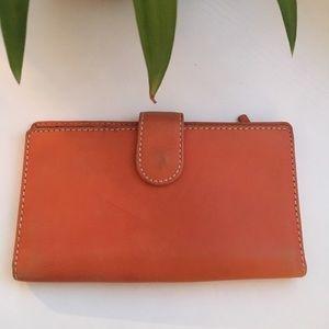 Handbags - Orange Leather Wallet Checkbook Cover
